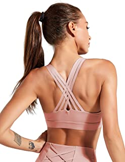 ulsfaar Strappy Sports Bra Women Workout Yoga Running High Impact Racerback Top with Removable Pad