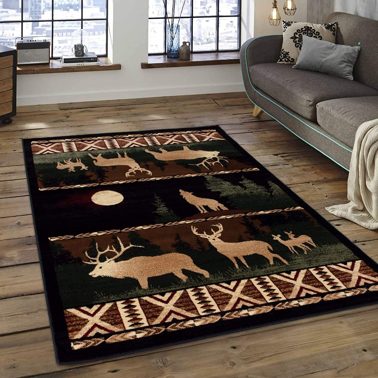 Wildlife Now free shipping Nature Rustic Lodge Log Cabin Elk Deer Decor Moon Wolf OFFicial store