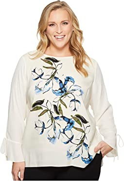 Plus Size Flared Tie Cuff Ink Portrait Print Blouse