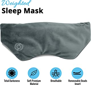 OxygenPlus - Microbead Weighted Sleep Mask⎮Soothing Comfortable Soft Eye Mask⎮for Reduce Stress Better Sleep Relaxation Travel Migraine Headache Relief