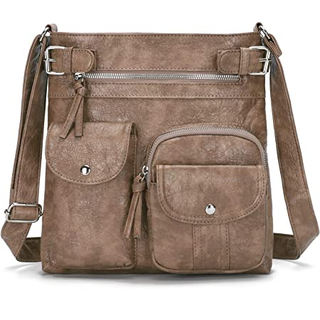 KL928 Damen Umhängetaschen Weiches Leder Henkeltaschen Handtasche Geldbörse Crossover Taschen für Mädchen oder Frauen (Khaki-größer)