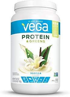 New Vega Protein & Greens Vanilla (25 Servings, 26.8 Ounce) - Plant Based Protein Powder, Keto-Friendly, Gluten Free,  Non Dairy, Vegan, Non Soy, Non GMO