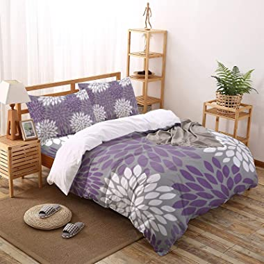 4 Pieces Duvet Covers Queen Size Purple and White Dahlia Pinnata Flower Ultra Soft Washed Microfiber Comforter Cover with Zip