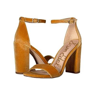 Sam Edelman Yaro Ankle Strap Sandal Heel (Tuscan Yellow Silky Velvet) Women