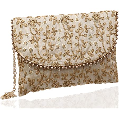 Kuber Industries Women's Handcrafted Embroidered Clutch Bag Purse Handbag for Bridal, Casual, Party, Wedding (Beige, Cream) - CTKTC34515
