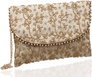 Kuber Industries Women's Handcrafted Embroidered Clutch Bag Purse Handbag for Bridal, Casual, Party, Wedding (Beige, Crea...