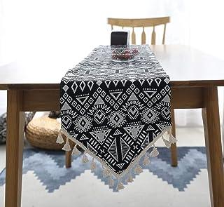 Maison classique Chemin de table, Chemin de table coton à la main artistique et lin élégant motif décoratifs for la maison...