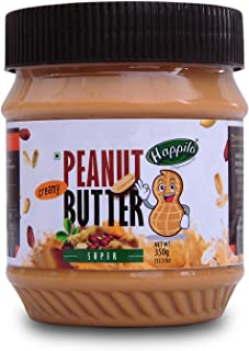 Happilo Super Creamy Peanut Butter (High Protein, Non-GMO, Gluten Free, Vegan) Bottle, 350 g