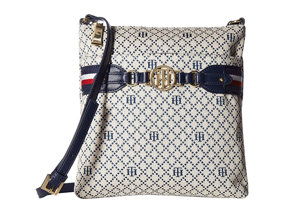 Tommy Hilfiger Brice Large North/South Crossbody (Navy/Natural) Cross Body Handbags
