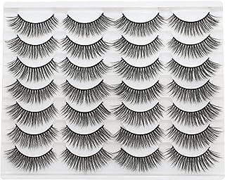HANWENER False Eyelashes New 14 Pairs Lashes Dramatic 15MM 3D Faux Mink Lashes Pack (3D-01)