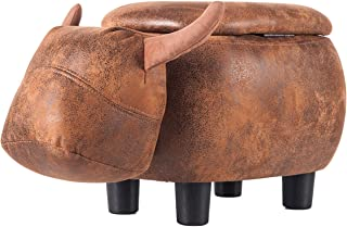 Merax Have- Fun Series Upholstered Ride-on Storage Ottoman Footrest Stool with Vivid Adorable Animal Shape (Brown Buffalo)