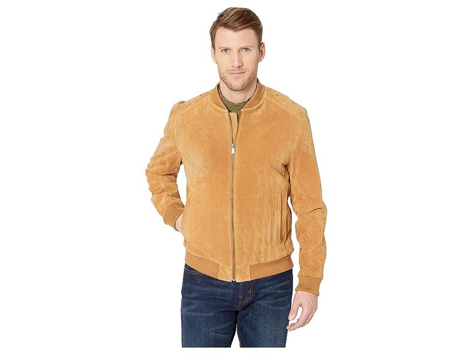 Cole Haan Suede Zip Front Water Resistant Jacket (Tan) Men