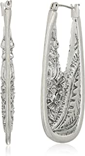 Women's Floral Etched Silver Statement Hoop Earrings, One Size