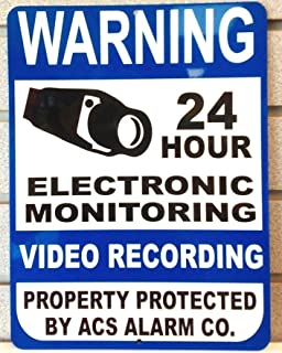 1-Pc Massive Unique Warning 24 Hour Electronic Monitoring Video Recording Property Protected Aluminum Sign Home Security Door Surveillance CCTV Fence Yard Signs Reflective Protect Size 9