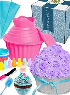 OMG Giant Cupcake (Pink) - Huge Fun, Jumbo Smash Cake Big Silicone Mold Pan, Extra Large Cake Decorating Supplies, Icing Piping Bags Tips, Muffin Liner Cups, Oversize Baking and Frosting