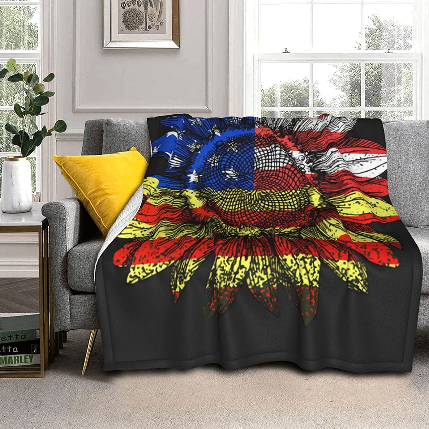 CHIFHOME Our shop most popular Fluzzy Sherpa Blankets Flag for Cou Sunflowers Fashion Blanket