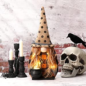 USILAND Handmade Scandinavian Wooden Gnome Sign, Nordic Tomte Halloween Witch Home Ornaments with String Lights, 17 Inches, Polka Dot