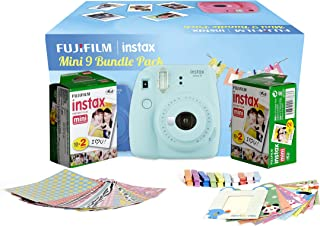 Fujifilm Instax Camera Mini 9 Bundle Pack with 40 Films Shot Free (Ice Blue)