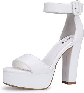 a49da01be3015 Amazon.com: White - Heeled Sandals / Sandals: Clothing, Shoes & Jewelry