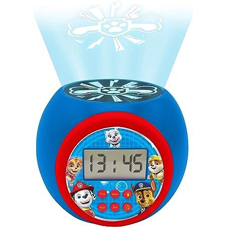 Lexibook- projecteur Pat' Patrouille Marshall,Rubble,Chase,Stella et Everest avec Fonction Alarme et répétition Snooze, veilleuse avec minuterie, écran LCD, à Piles, Bleu/Rouge, RL977PA, Multicolore