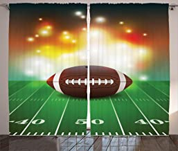 Ambesonne Sports Curtains, American Football Ball with Warm Properties on Grass Turf Field Team Art Graphic, Living Room Bedroom Window Drapes 2 Panel Set, 108