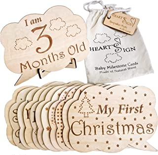 Heart'Sign 24 Designs Baby Monthly Milestone Cards   Wooden Baby Milestone Blocks   Newborn Photography Prop   Baby Registry and Baby Shower Set   Baby Nursery Decor