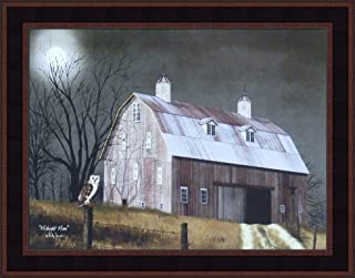 Midnight Moon by Billy Jacobs 15x19 Full Moon Owl Night Barn Fence Primitive Folk Art Wall Décor Framed Picture