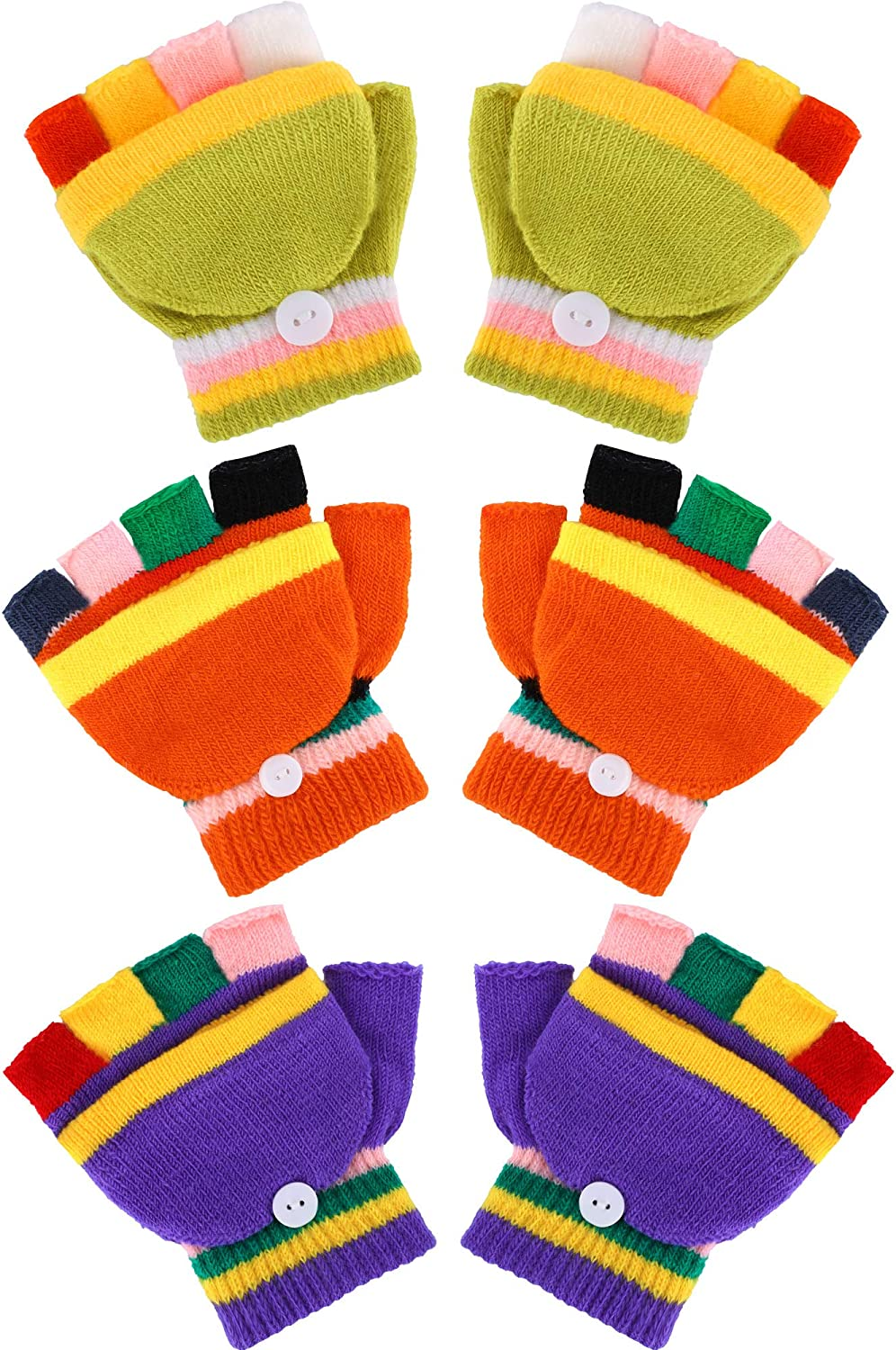 Boao 3 Pairs Kids Winter Fingerless Mittens Convertible Flip Top Gloves with Mitten Cover
