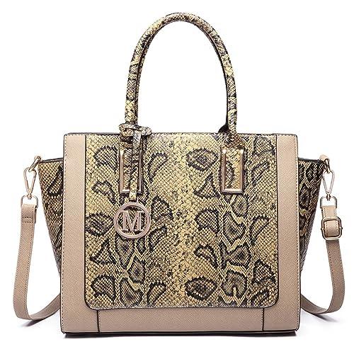 de2cf9076b4 Miss Lulu Women Faux Leather Snake Skin Handbag Bat Style Cross Body  Shoulder Satchel Bag
