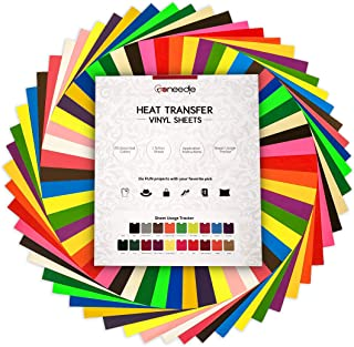 "Heat Transfer Vinyl HTV Bundle: 20 Pack Assorted Colors 12""x10"" Sheets for DIY Iron On T-Shirts Fabrics - Seamless Integration with Cricut, Silhouette Cameo, Heat Press Machines 