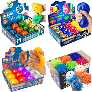 Mega Party Sensory Ball Bundle - 12 Sewn Mesh Squeeze Balls, 12 Pull and Stretch Balls, 12 Water Bead Stress Balls, and 12...