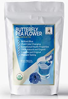 Zi Chun Teas - USDA Organic Butterfly Pea Flower Tea from Thailand, Vibrant Blue Color Changing Ancient Herbal Beverage. Supports Anti Aging, Memory Retention, Autophagy - 3.5 Ounce Resealable Bag