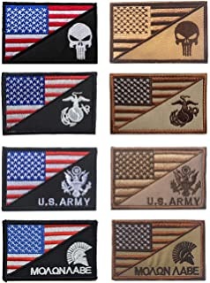 Antrix 8 Pieces US American Flag/USA Punisher US Marine Corps USMC US Army Spartan Molon Labe Military Tactical Morale Patches 3.15