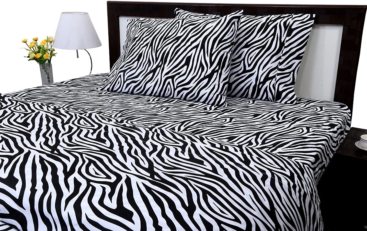 Zebra Print Twin Size Ultra Soft Natural 4 PCs Bed Sheet Set 16  Deep Elastic All Round 100% Cotton 400-Thread-Count Extremely Stronger Durable By Aashi