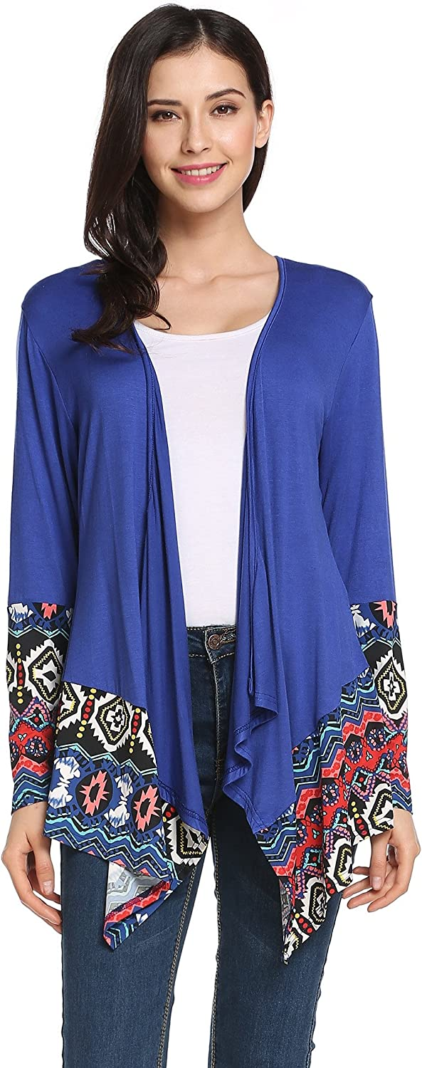 Zeagoo Womens Solid High Low Long Sleeve Boho Open Front Blouses Cardigans SXXL
