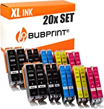 20 Bubprint Druckerpatronen kompatibel für Canon PGI-550 CLI-551 XL Pixma IP7200 IP7250 IX6850 MG5450 MG5550 MG5650 MG6450 MG6650 MX725 MX920 MX925