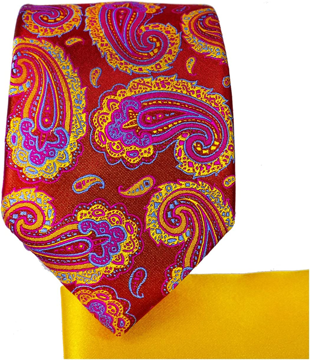 Tango Red Paisley 7-fold Silk Tie and Pocket Square