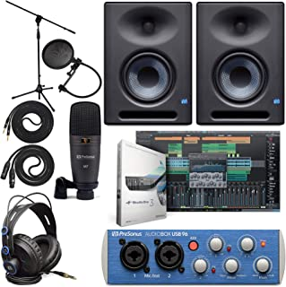 """Presonus AudioBox 96 Audio Interface Full Studio Bundle with Studio One Artist Software Pack with Eris E5 XT Pair 2-Way Studio Monitors with EBM Wave Guide Design and 1/4"""" Instrument Cable"""