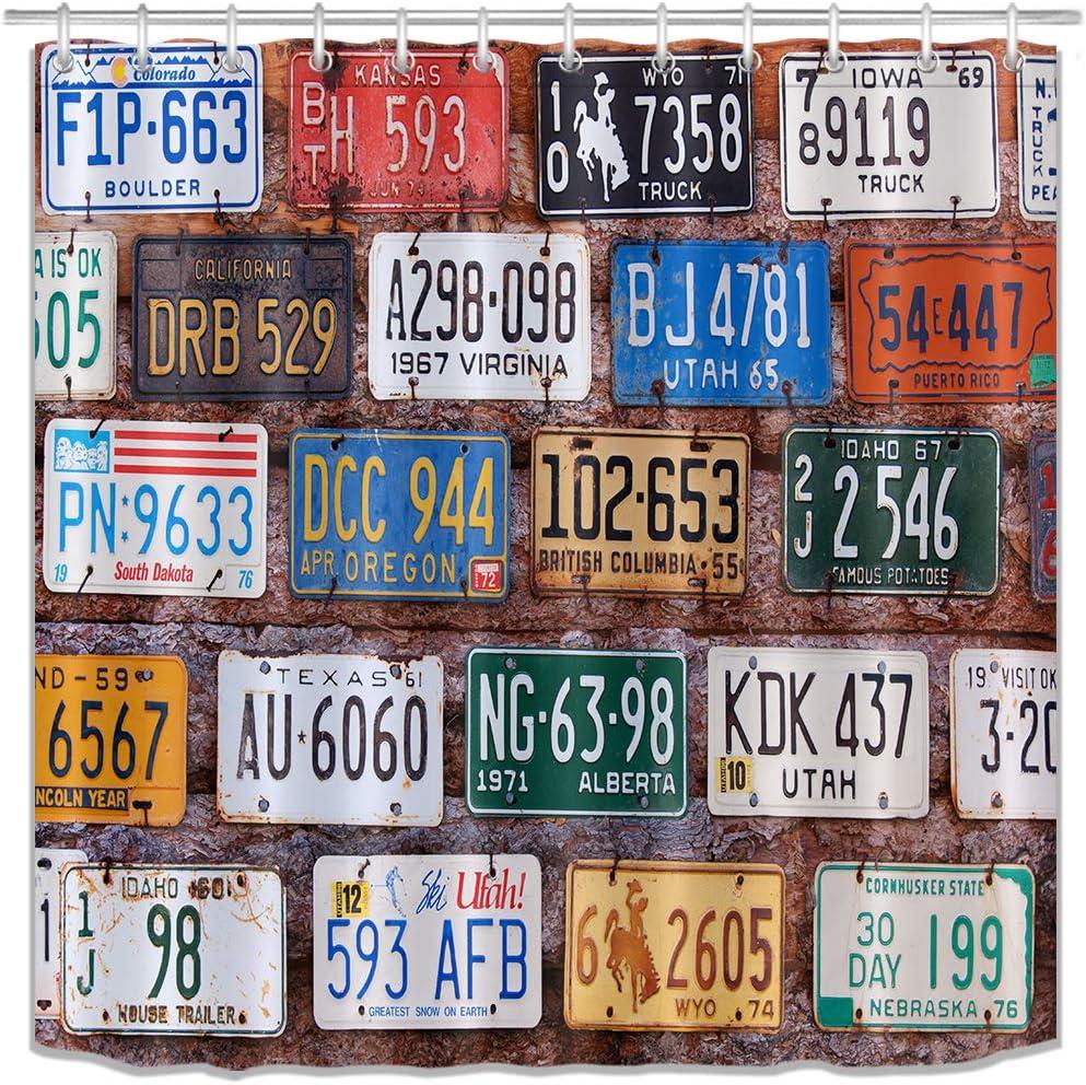 Las Vegas Mall LB Max 57% OFF Old Car Shower Curtain License Curta Automobile Plates