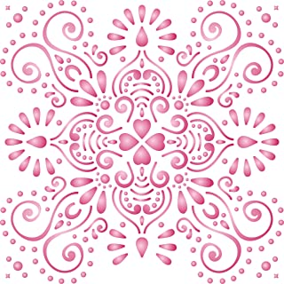 """Damask or Tile Stencil - (size 14""""w x 14""""h) Reusable Wall Stencils for Painting - Best Quality Template Allover Wallpaper ideas - Use on Walls, Floors, Fabrics, Glass, Wood, and More…"""