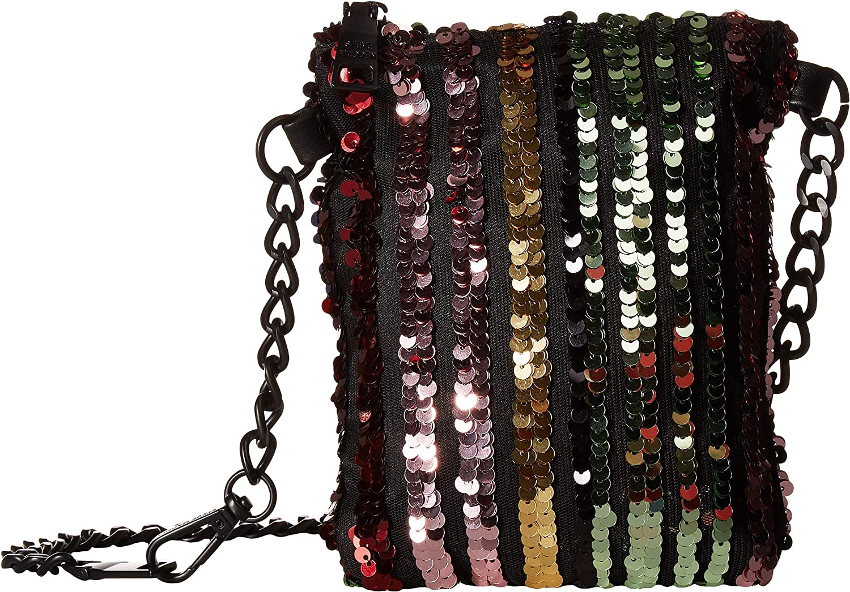 Steve Madden Women's Sequin Belt Bag on Matte Strap Rainbow SM MD