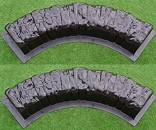2 pcs ROUND EDGE STONE CONCRETE MOLDS Log Edging Border Mould ABS Plastic #BR11