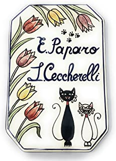 CERAMICHE D'ARTE PARRINI- Ceramica italiana artistica, numero civico in ceramica 20x13 personalizzato, decorazione gattini...