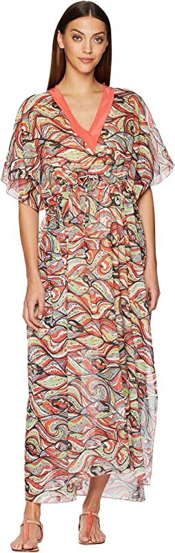 Mermaid Print Caftan Long Dress