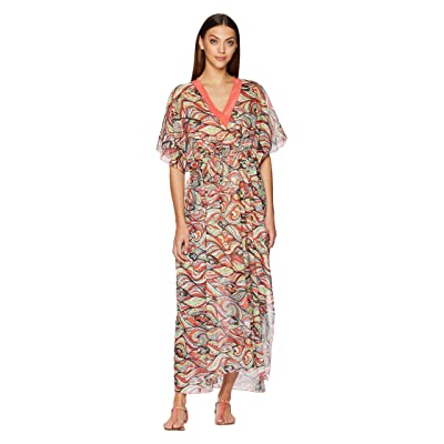 M Missoni Mermaid Print Caftan Long Dress (Coral) Women