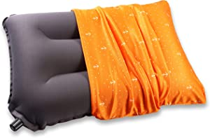 Self Inflating Pillow - Camping Pillow for Sleeping - Backpacking Pillow - Travel Lumbar Support Pillow - Compact Compressible Packable Portable Inflatable Blow Up Air Pillow for Car Airplanes Hiking