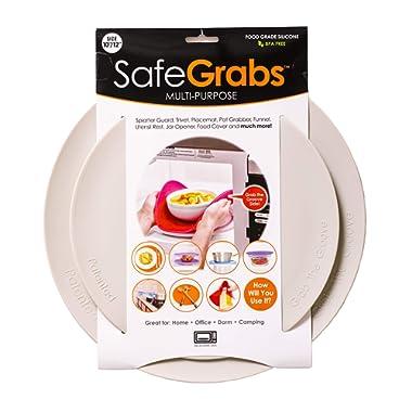 Safe Grabs: Multi-Purpose Silicone Original Microwave Mat as Seen on Shark Tank | Splatter Guard, Trivet, Hot Pad, Pot Holder, Minimize Mess (BPA-Free, Heat Resistant, Dishwasher Safe), Set of 2 Gray