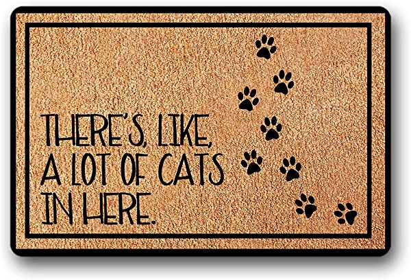 BXBCASEHOMEMAT There S Like A Lot Of Cats In HERE In Here Non Skid Family Floor Entrance Doormat Indoor Outdoor 18 X 30