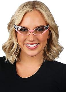 elope Vintage 50s Cat Eye Glasses Pink with Rhinestones