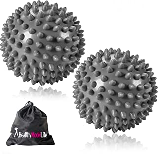 Two Pack Premium Grade Spiky Massage Ball by Healthy Model Life - Highly Recommended for Plantar Fasciitis - Silver